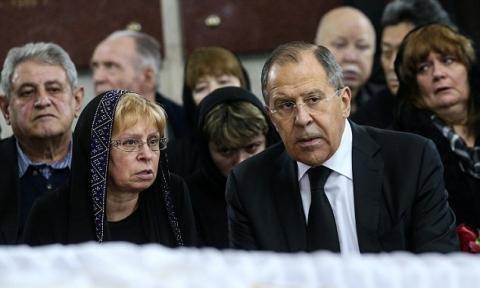 بغض پوتین در مراسم تدفین سفیر روس+تصاویر