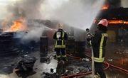 انفجار سیلندرهای گاز در پی آتشسوزی انبار ضایعات