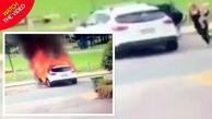 فداکاری مادر جوان در نجات کودکان پیش از انفجار خودرو +فیلم