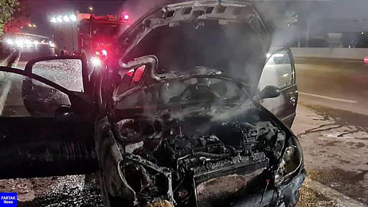 آتش سوزی فجیع پژو 206 در بزرگراه آزادگان