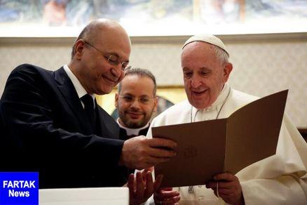 حمایت پاپ فرانسیس از استقلال عراق در دیدار با برهم صالح