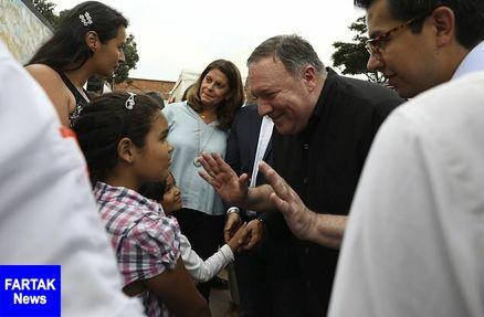 پامپئو با مهاجران ونزوئلایی در مرز کلمبیا دیدار کرد