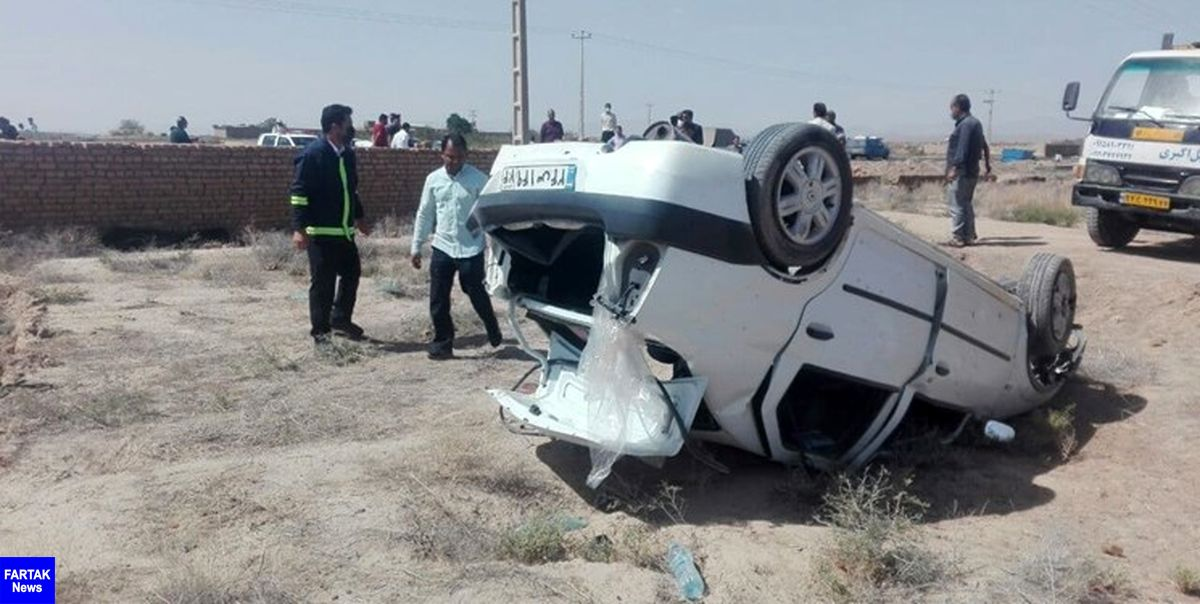 جان باختن مادر و دختر در واژگونی خودروی ال۹۰ در محور بردسکن - شهرآباد