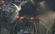 آواره شدن ساکنان یک ساختمان به دلیل آتش سوزی + فیلم