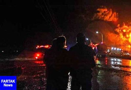 مهار آتش در واحد تقطیر پالایشگاه آبادان