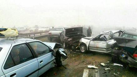 تصادف زنجیره ای هولناک در اتوبان مشهد-نیشابور