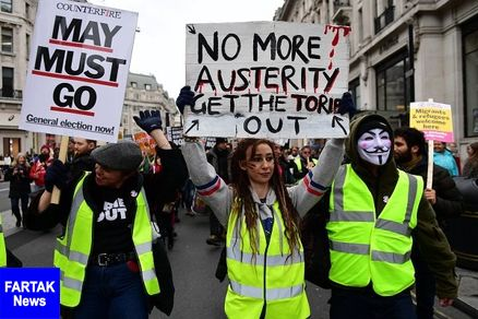 معترضان جلیقه زرد در لندن به خیابان آمدند