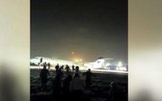 استوری یک مسافر از فرود بدون چرخ پرواز قشم-تهران