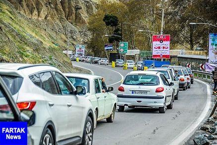 ترافیک نیمهسنگین در ابتدای کرج-چالوس