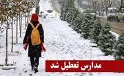 بارش برف برخی مدارس استان کردستان را تعطیل کرد