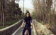 دوچرخه سواری گل ناز عباسی در چیتگر (عکس)