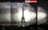 نورافشانی برج ایفل پس از قهرمانی فرانسه + فیلم