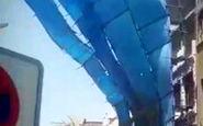 سقوط داربست فلزی ساختمان چند طبقه در بازار تهلنجی آبادان
