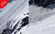 مدفون شدن دهها اسکی باز در کوه های آلپ!