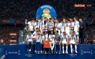 لحظه بالا بردن جام قهرمانی رئال مادرید توسط راموس + فیلم