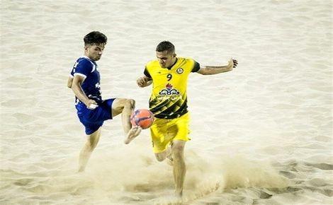 جدال تیمهای اول و دوم لیگ برتر فوتبال ساحلی در بوشهر