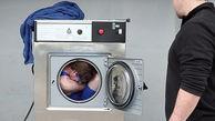 مردی در لباسشویی خود را شست!
