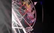 لحظه وحشتناک آویزان شدن گردشگران از چرخ و فلک! +فیلم