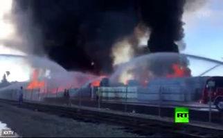 آتش سوزی در یک کارخانه رب سازی در ایالت کالیفرنیا  - آمریکا
