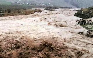 جاریشدن سیلاب در روستای حسینان دامغان + فیلم