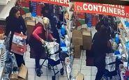 عمل غیراخلاقی زن جوان با زن سالخورده در فروشگاه! +فیلم