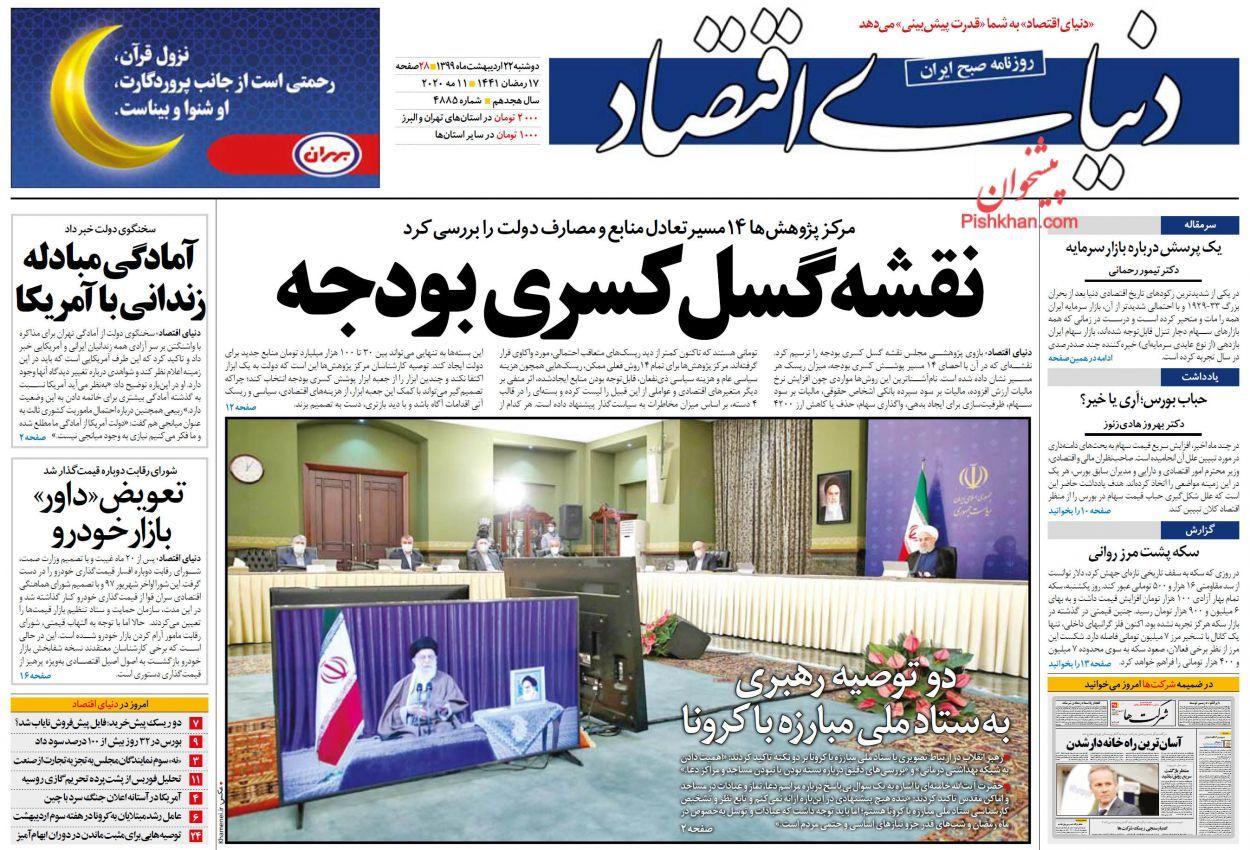 روزنامههای اقتصادی دوشنبه 22 اردیبهشت 99